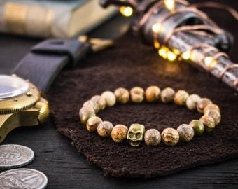 8mm - Jasper stone beads with bronze skull stretchy bracelet, made to order gemstone bracelet, mens beaded bracelet, womens bracelet