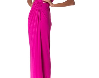 Vintage 1970s Strapless Jersey Gown with Boned Bodice Size: XS