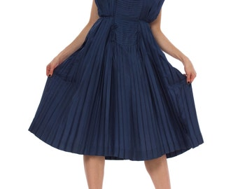 Vintage 1950s Blue Sleeveless Pleated Silk Midi Dress Size: XS/S