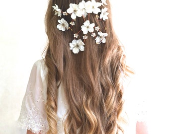 Flower head wreath, Cascading flower head piece, Wedding hair accessories, Cascade flower crown, Bridal crown, Flower crown, Bridal comb