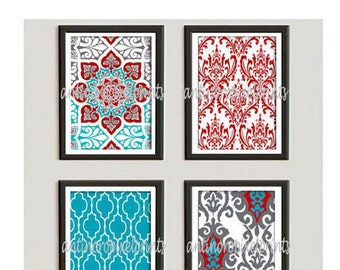 Red Turquoise Grey Ikat Digital illustration Wall Art - Set of (4) - 8 x 10 Prints -   (UNFRAMED) Custom Sizes Colors Available