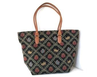 Vintage Talbots Tapestry Tote, Handbag, Leather Handles, Large Handbag, Carryall, Shoulder Bag