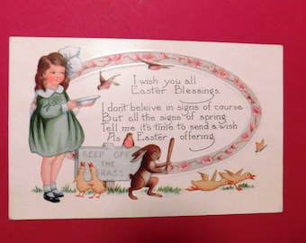 Vintage Whitney Made Little Girl, Rabbit & Birds Easter Postcard - 1919 - from DustyMillerAntiques