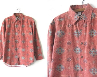 Kilim Pattern Rust Orange Button Down - Coral Color Turquoise Patterned Minimal 90s Long Sleeve Shirt - Mens Small