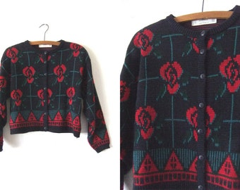 Rose Print Cropped Cardigan Sweater - Floral Knit 90s Crop Top Boxy Sweater - Womens Medium