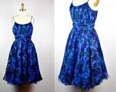50s SILK Dress - Floral Dress by I. MAGNIN Spaghetti Straps Full Skirt Dress Pleated Dress Designer Dress Blue Silk Party Cocktail Gown S  M