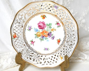 vintage collectible plates collectable plate floral lattice edge plate floral plate floral german plate porcelain