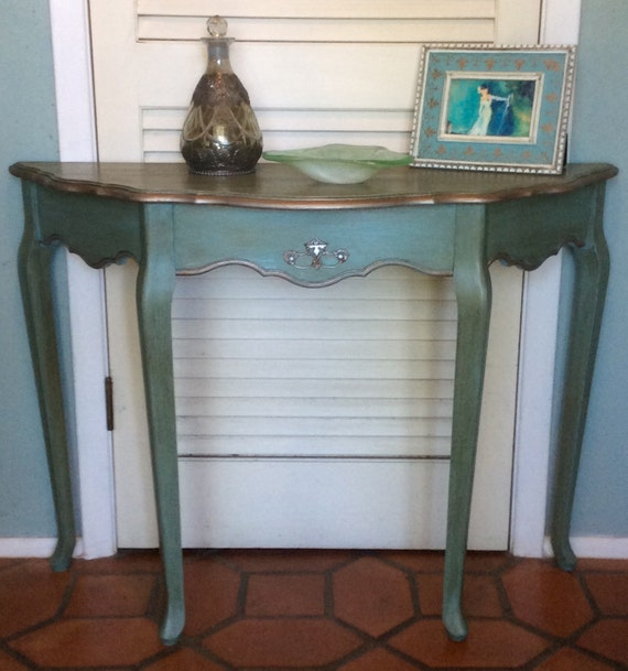 Foyer Table Etsy : Blue foyer entryway table french style