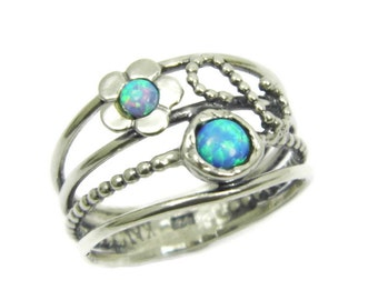 Opal ring. Floral sterling silver opal ring. Silver ring. Floral opal ring. Floral silver ring. Floral ring. (sr-9921) opal jewelry
