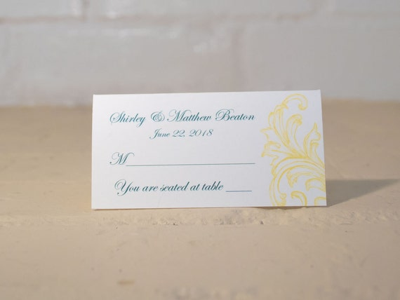 Sandra Place Cards and/or Table Cards, Teal and Yellow Reception Decorations, Floral Escort Cards