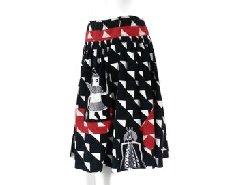 Tribal Gods or Kachina Printed Skirt Ha'Fiz Cohen-Edwards Folk Art Skirt