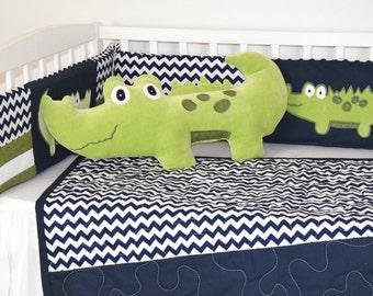 Alligator pillow, alligator nursery, alligator madras decor, nursery pillow, throw pillow, decorative pillow