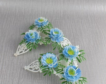 Pair of Decorative Plastic Candle Stick Holders with Blue Flower and Leaf Design