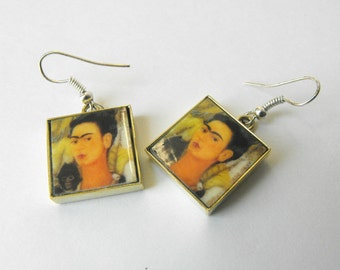 Frida Kahlo Art Tile Earrings  - Handmade Glass Tile Dangle Earrings  - Classic Square Tile Earrings by ElleBelleArt