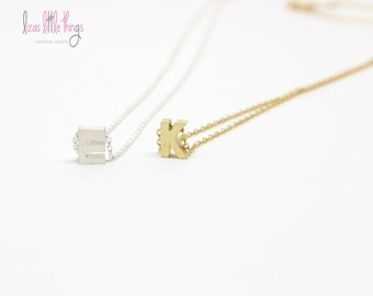 Sterling Silver Initial Necklace. Gold Vermeil Letter Necklace. 100% Silver letter jewelry. Personalized name necklace. Bridesmaids gift