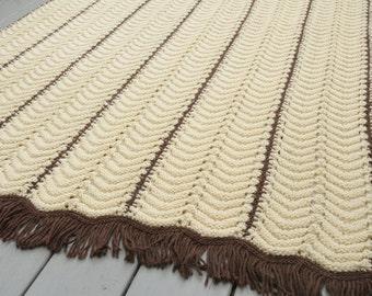 Vintage Handmade Crocheted Afghan Blanket