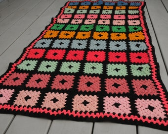 Vintage Squares Crocheted Afghan Small