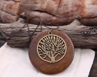 Tree of Life Pendant wooden necklace on brown waxed cotton cord