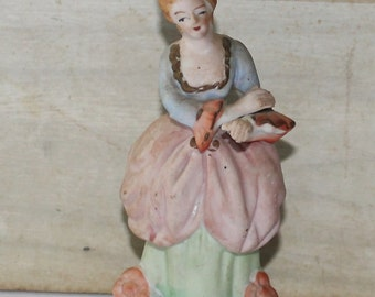Vintage Victorian Woman Porcelain Bisque Figurine - Occupied Japan - Colonial Figurine - Collectibles - Home Decor - Hand Painted