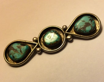 Old Pawn Native American Sterling Silver & Turquoise Brooch Pin