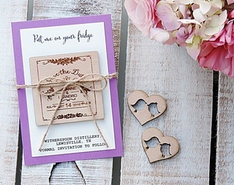 Rustic Wood Save The Date Magnet, Custom Save The Date Magnet, Rustic Wood Save the Date,  Save The Date Magnet, Rustic Wedding, Set  of 20