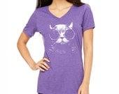 Cat Shirt. Cat Vneck. Cat T-shirt. Women's Cat Shirt. Women's Clothing.