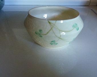 Vintage Irish Belleek Porcelain Open Sugar Bowl with Hand Painted Shamrocks