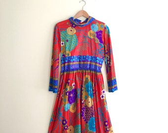 Vintage Rainbow Floral Scooter Dress / Long Sleeve Dress / Mod Gypsy Red Dress / Retro Psychedelic Floral Print Dress  - 1960s