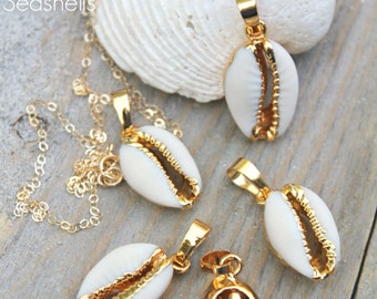 White Sea shell necklace, 14K Gold Filled layering Boho Chic Cowrie natural real seashell, beach ocean summer, Bohemian