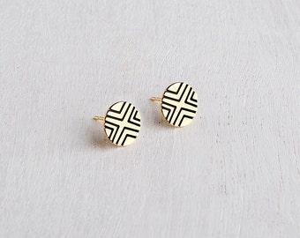 Round Stud Earrings, Black & Gold Stud Earrings, Unique Black Post Earrings, Circle Post earrings, Minimalist Earrings, Gold Plated Earrings