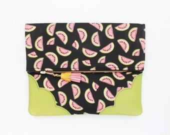 Flower clutch bag. Fold over clutch. Leather handbag. Statement purse. Watermelon print. Green natural leather. Black handbag. /SUMMERY 62