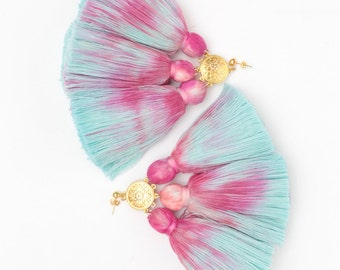 MAGIC 41 / Dyed cotton tassel & Metal statement earrings - Ready to Ship