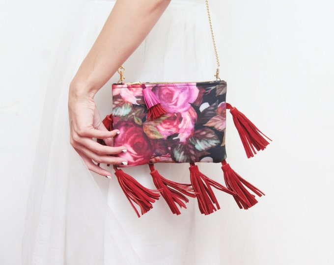 SALE/ POSY 3 /Floral shoulder bag-flower print purse-cross body bag-red tassel purse-small romantic bag-red pink oxblood gold- Ready to Ship