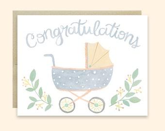 Baby Congratulations Card, Baby Pram Card, Congratulations Baby Card, Cute Baby Stroller Card, Gender Neutral Baby Card, Cute Congrats Card
