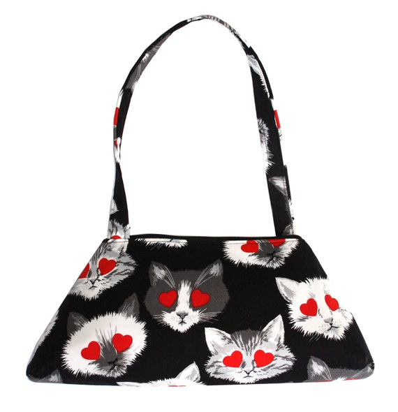 Cat heads, heart eyes, black and white, SMALL Retro Tote