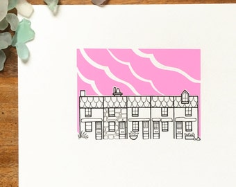 st ives cornwall illustration - 'pink' - stylised cornish cottages drawing - st ives pink sky - hand drawn houses at sunset.