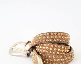 vtg 80s leather belt GOLD stud brown leather metal southwestern boho hippie dress belt 33 1/2