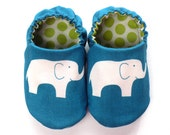 Elephant Baby Boy Shoes (Organic Cotton), 0-6 mos. Baby Booties, Baby Boy Gift, Slip-On Baby Shoes, Boy Crib Shoes, Soft Sole Baby Shoes