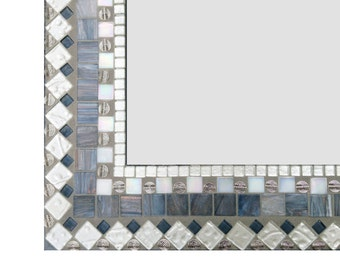 Large Wall Mirror in Silver Gray and White // Mosaic Mirror // Mixed Media Mosaic