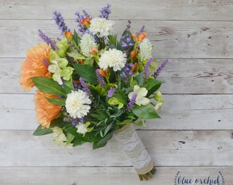 Wildflower Bouquet, Wedding Bouquet - Fall Wedding Bouquet, Fall Bouquet, Bridal Bouquet, Silk Bouquet, Lavender Bouquet, Silk Flowers, Fall