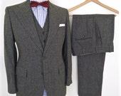 1960s Three-Piece Tweed Suit / vintage Charter Club dark green herringbone wool suit jacket & pants / men's small