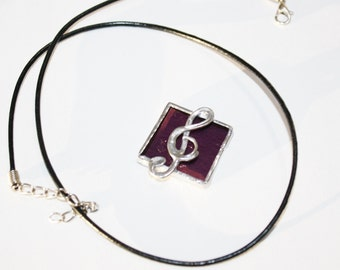 Treble Clef Pendant of  Purple Stained Glass  Original Handcrafted Jewelry Made in the USA