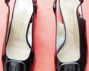 Vtg FERRAGAMO Black Patent Slingback Open Toe Shoes, 36, 6.5 B