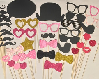 50 Photobooth Props - Pink and Gold - Everything you need for the perfect Photo Booth - Includes Chalk Bubble, Glitter, and Gold Foil