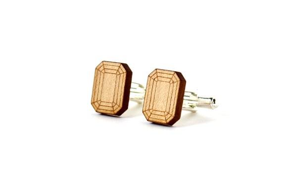Emerald cufflinks - fake stone cufflinks - lasercut maple wood - trompe-l'œil jewelry - for the groom - wedding accessory for men