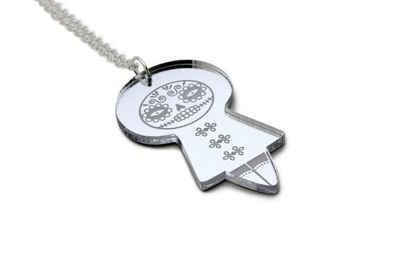 Mexican doll pendant - acrylic silver mirror - Dia de los Muertos - Catrina necklace - doll jewelry - lasercut perspex - laser cut plexiglas