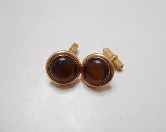 Vintage Swank Cuff Links (4207) Olive Green Cabochons