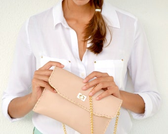 Leather purse / Nude Leather clutch / Handmade leather bag with gold metal chain