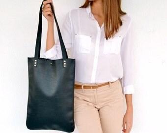 Black leather tote bag / Handmade leather bag