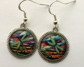 Dragonfly Earrings 3D Jewelry Green Bright Stripe Dimensional Silver Picture